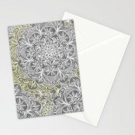 Yellow & White Mandalas on Grey Stationery Cards