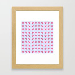 Pink hearts on blue Framed Art Print