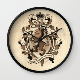 Gryphon Coat Of Arms Heraldry Wall Clock