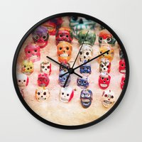 sugar skulls Wall Clocks featuring Sugar Skulls by Jenndalyn
