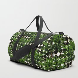 Palms on Quatrefoil - Black Gold Duffle Bag