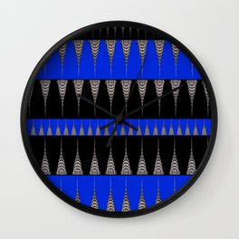 Chrysler Building Pattern in Blue and Black Wall Clock