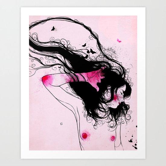 MARIPOSA ROSA Art Print