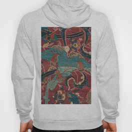 Flowery Arabic Rug I // 17th Century Colorful Plum Red Light Teal Sapphire Navy Blue Ornate Pattern Hoody