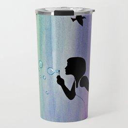 Rainbow Bubbles & Birds in the Wind Travel Mug
