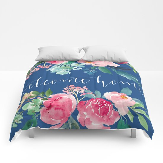 Welcome home blue and pink floral comforters by entirely - Blue and pink floral bedding ...