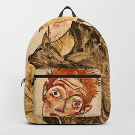 Egon Schiele - Self Portrait With Striped Armlets Backpack