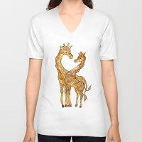 henna V-neck T-shirts featuring Henna Giraffe by Kari D Designs