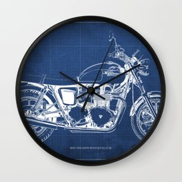 2010 Triumph Bonneville SE, motorcycle blueprint, husbands gift, offer, original poster, fathers day Wall Clock