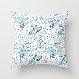Star Sapphire Floral Celebration Blue Throw Pillow