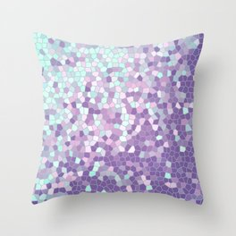 Aqua and Violet Purple Mosaic Throw Pillow