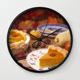 III - Homemade pumpkin pie on a rustic table with autumn decorations Wall Clock