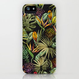 Tropical pattern on black iPhone Case