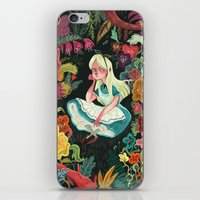 wonderland iPhone & iPod Skins featuring Alice in Wonderland by Karl James Mountford