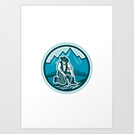 Gold Prospector Miner Panning Circle Retro Art Print