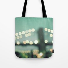 New York, Brooklyn bridge magical lights Tote Bag