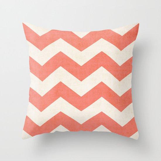 Vintage Coral Chevron Throw Pillow