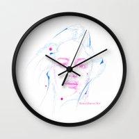 jennifer lawrence Wall Clocks featuring Jennifer Lawrence (Linear Curve Art) by Rene Alberto