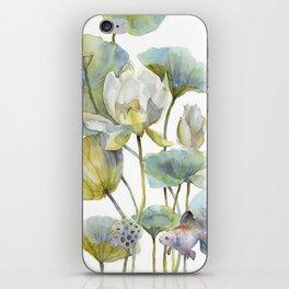 Lotus Plant and Fish Zen Design Watercolor Muted Pallet Botanical Art iPhone Skin