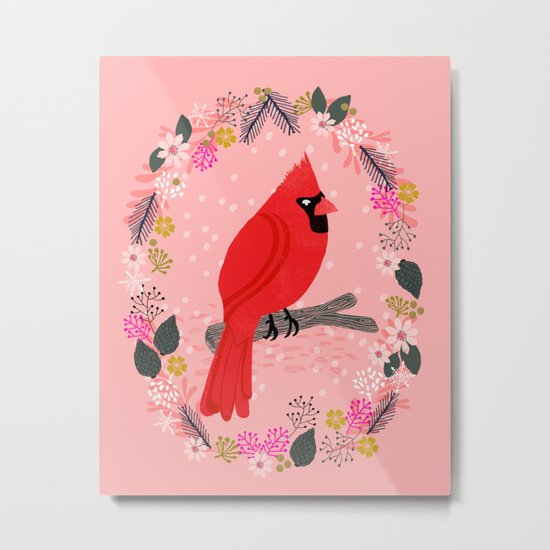Northern Cardinal by Andrea Lauren  Metal Print