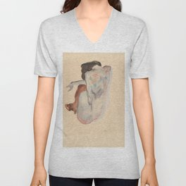 Crouching Nude in Shoes and Black Stockings, Back View - Egon Schiele Unisex V-Neck