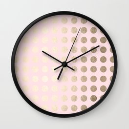 Simply Polka Dots White Gold Sands on Flamingo Pink Wall Clock