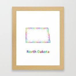 Rainbow North Dakota map Framed Art Print
