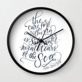 The Cure for Anything is Salt Water - Navy Watercolor Wall Clock