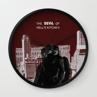 daredevil Wall Clocks featuring Daredevil by amyskhaleesi