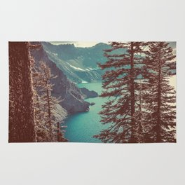 Vintage Blue Crater Lake and Trees - Nature Photography Rug