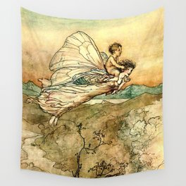 """""""Bear the Changeling to My Bower"""" Art by Arthur Rackham Wall Tapestry"""