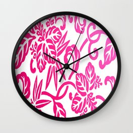 Pink White Ombre Japanese Leaf Pattern Wall Clock