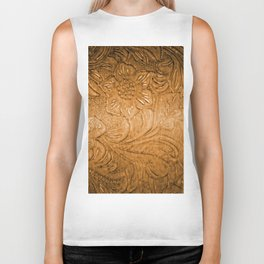 Golden Tan Tooled Leather Biker Tank