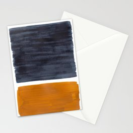 Minimalist Mid Century Modern Colorful Color Field Rothko Navy Blue Yellow Ochre Stationery Cards