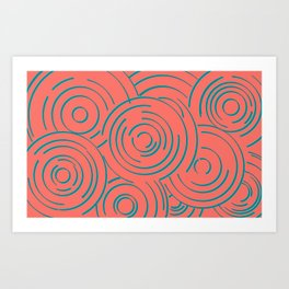 Living Coral and Turquoise Circular Design Art Print
