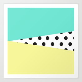 Color Block & Polka Dots Art Print