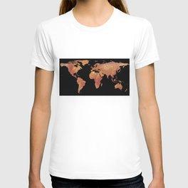 World Map Silhouette - Crispy Bacon T-shirt