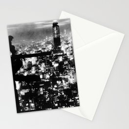 Late night construction in NYC Stationery Cards