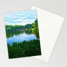 Central Park Bridge Over Peaceful Waters Stationery Cards