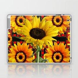 SOUTHWESTERN  BLACK COLOR YELLOW SUNFLOWERS ART Laptop & iPad Skin