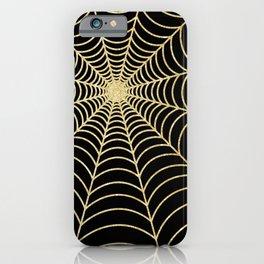 Spiderweb | Gold Glitter iPhone Case