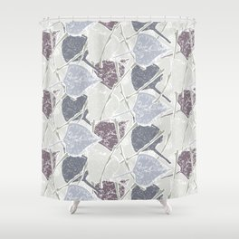 fifties Gray leaves Shower Curtain