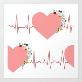 Flower ECG Hearts Art Print