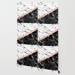 Modern black white marble color block rose gold Wallpaper