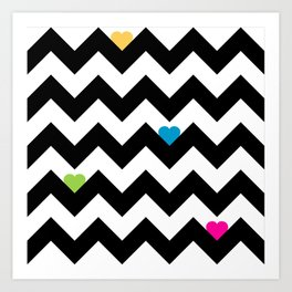 Heart & Chevron - Black/Multi Art Print