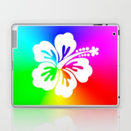 White Hibiscus Flower Bright Rainbow Ombre Laptop & iPad Skin