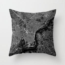 Philadelphia Black Map Throw Pillow