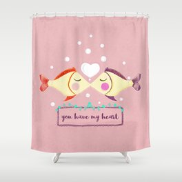 VALENTINE'S FISH IN LOVE Shower Curtain