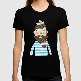 Lovely Bearded Sailor Man Illustration T-shirt