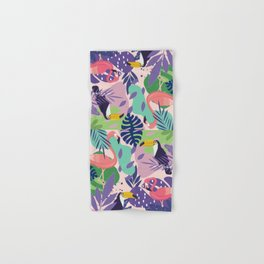 Tropical Jungle With Flamingos And Toucans Memphis Style Hand & Bath Towel